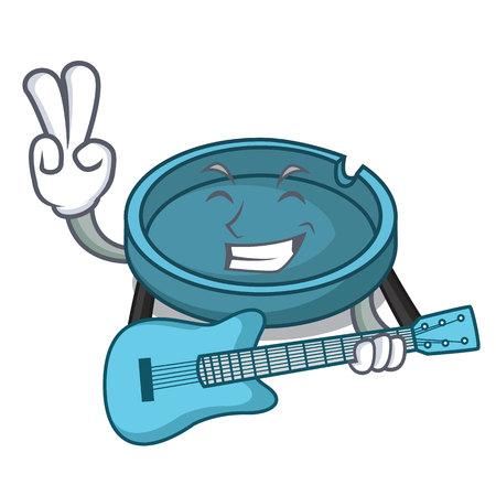 With guitar ashtray mascot cartoon style