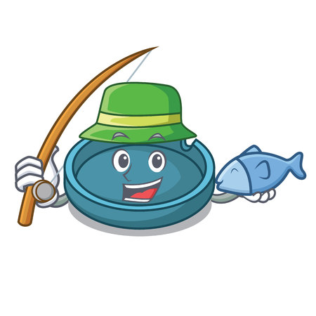Fishing ashtray mascot cartoon style Illustration