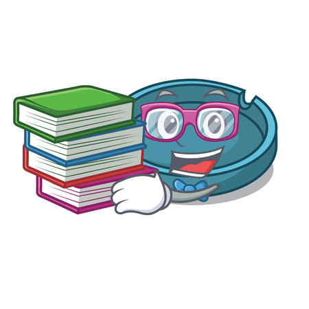 Student with book ashtray mascot cartoon style vector illustration