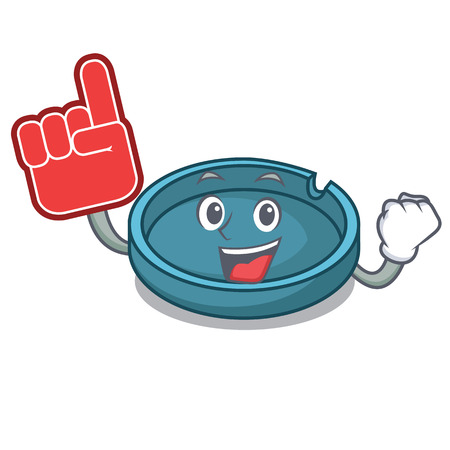 Foam finger ashtray mascot cartoon style vector illustration