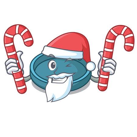 Santa with candy ashtray mascot cartoon style vector illustration