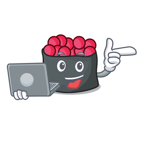 With laptop character cartoon style vector illustration Illustration