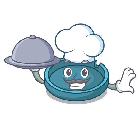 Chef with food ashtray mascot cartoon style vector illustration