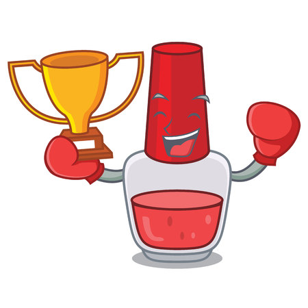 Boxing winner nail polish mascot cartoon vector illustration