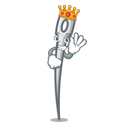 King needle mascot cartoon style