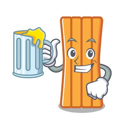 With juice air mattress mascot cartoon