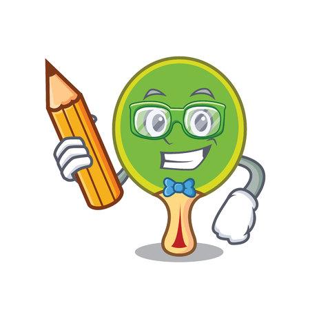 Student  racket character cartoon Illustration
