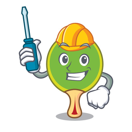 Automotive racket mascot cartoon