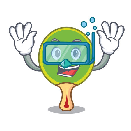 Diver table tennis racket cartoon character
