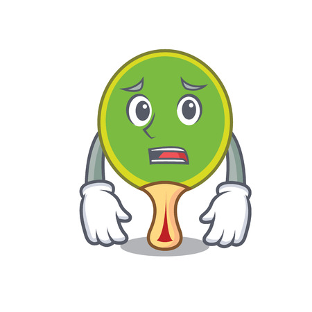 Afraid table tennis racket cartoon character