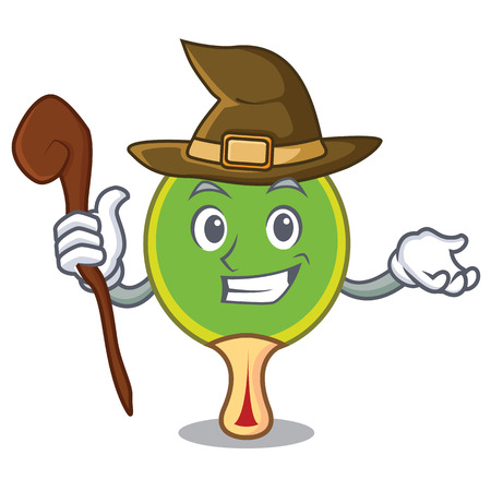 Witch table tennis racket cartoon character