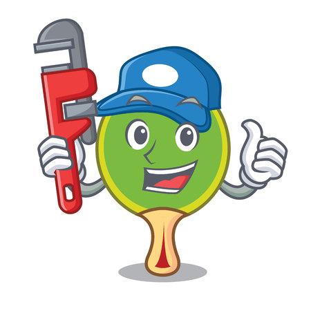 Plumber table tennis racket cartoon character
