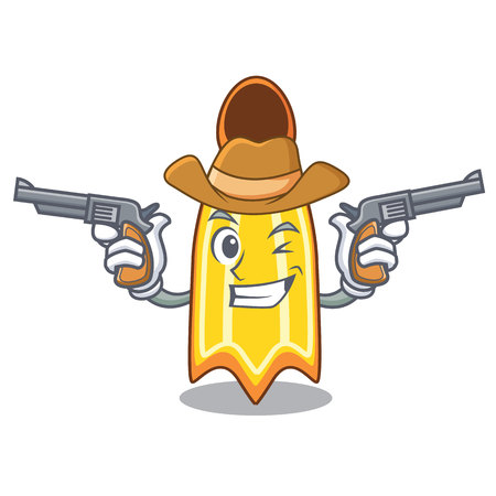 Cowboy swim fin character cartoon vector illustration