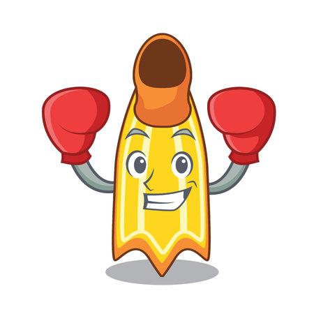 Boxing swim fin character cartoon vector illustration Illustration