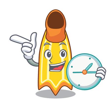 With clock swim fin character cartoon vector illustration Illustration
