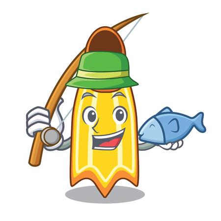 Fishing swim fin mascot cartoon vector illustration Illustration
