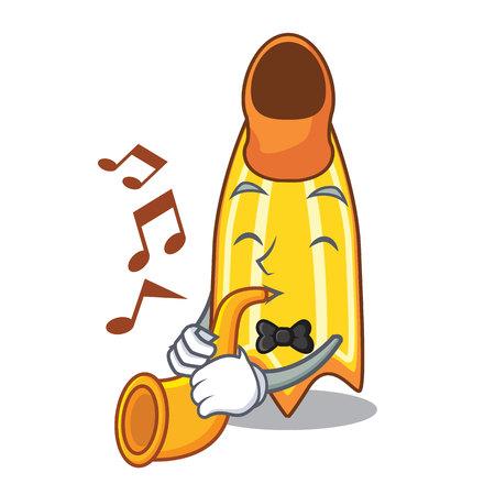 With trumpet swim fin mascot cartoon vector illustration Illustration