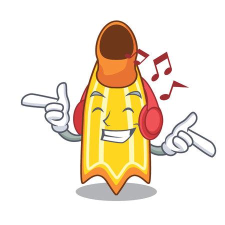 Listening music swim fin mascot cartoon vector illustration Illustration