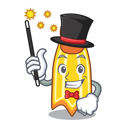 Magician swim fin mascot cartoon vector illustration
