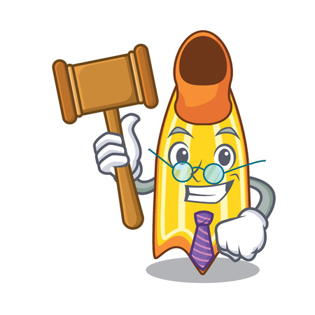Judge swim fin mascot cartoon vector illustration