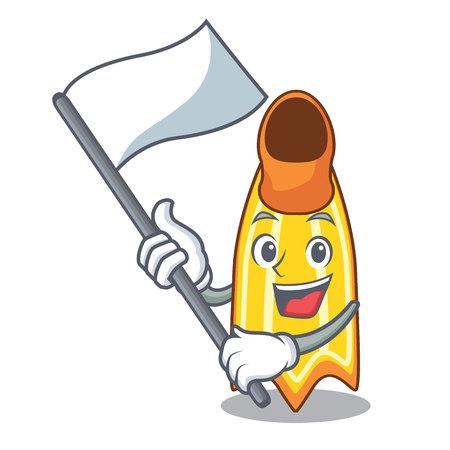 With flag swim fin mascot cartoon vector illustration