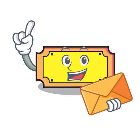 With envelope ticket character cartoon style Illustration
