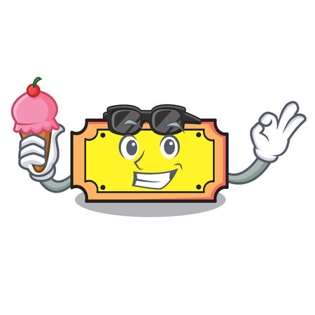 With ice cream ticket character cartoon style Stock Illustratie