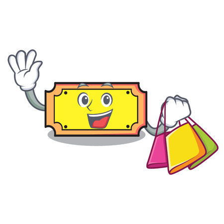 Shopping ticket character cartoon style vector illustration
