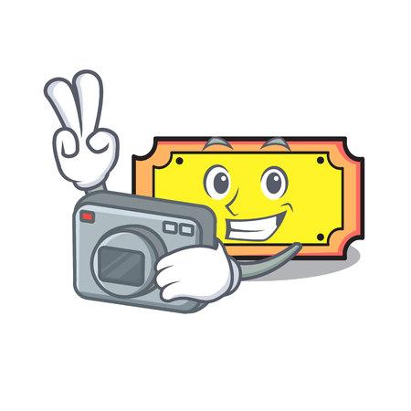 Photographer ticket mascot cartoon style vector illustration