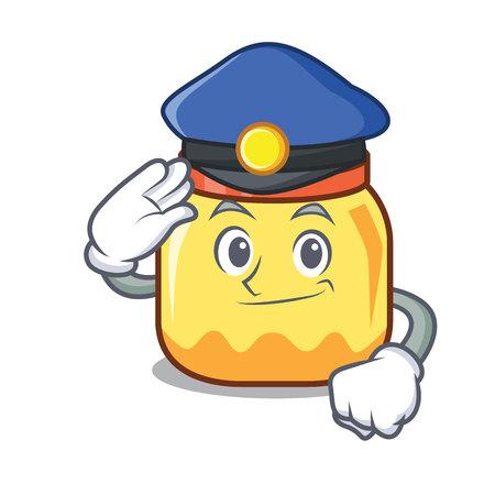 Police cream jar character cartoon