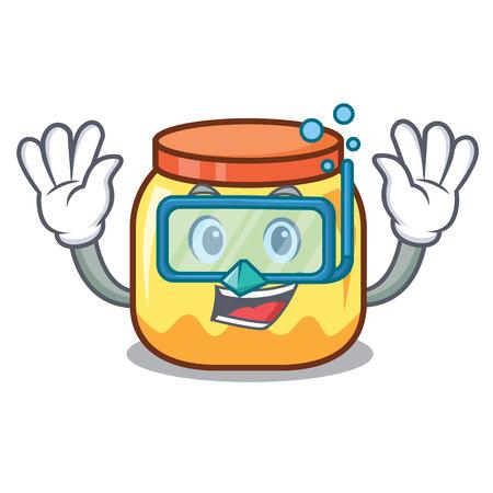 Diving cream jar character cartoon vector illustration