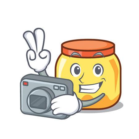 Photographer cream jar mascot cartoon vector illustration