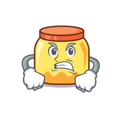 Angry cream jar mascot cartoon vector illustration Illustration