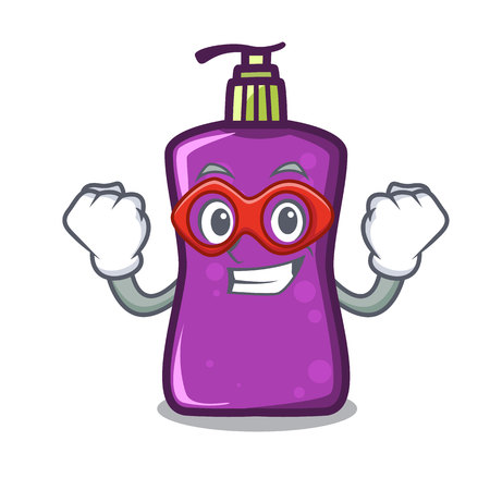 Super hero shampoo character cartoon style illustration.