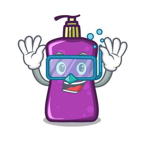 Diving shampoo character cartoon style illustration.