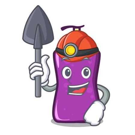 Miner shampoo mascot cartoon style Illustration