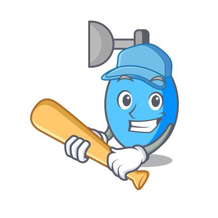 Playing baseball ambu bag character cartoon vector illustration Illustration