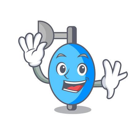 Waving ambu bag character cartoon vector illustration Illustration