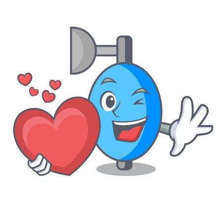 With heart ambu bag mascot cartoon vector illustration Illustration