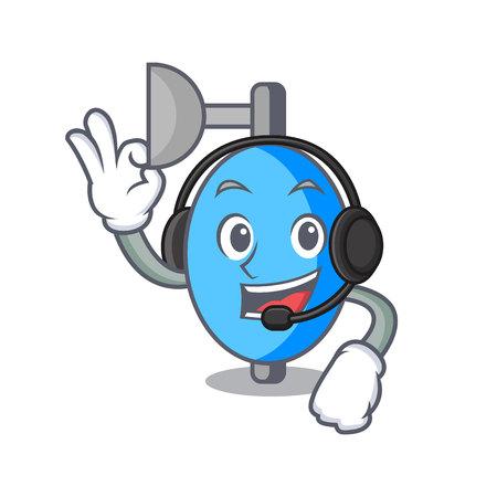 With headphone ambu bag mascot cartoon vector illustration
