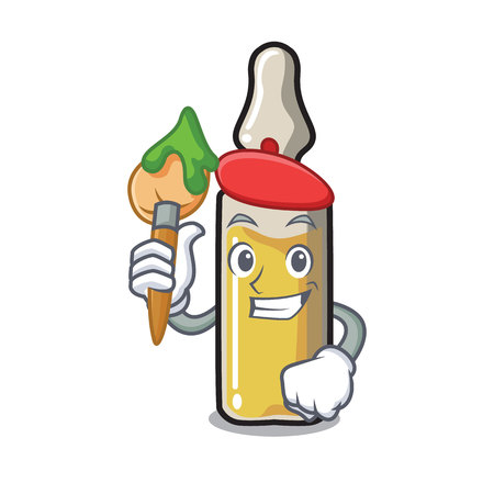 Artist ampoule character with a paint brush in cartoon style vector illustration Illustration