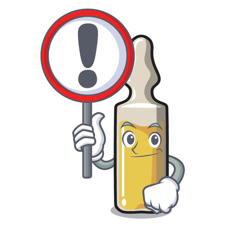 With sign ampoule character in cartoon style vector illustration