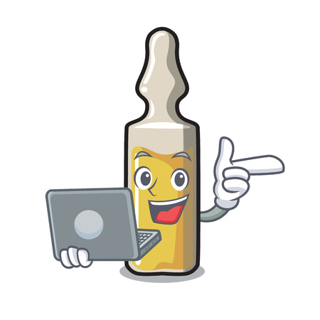 With laptop ampoule character in cartoon style vector illustration