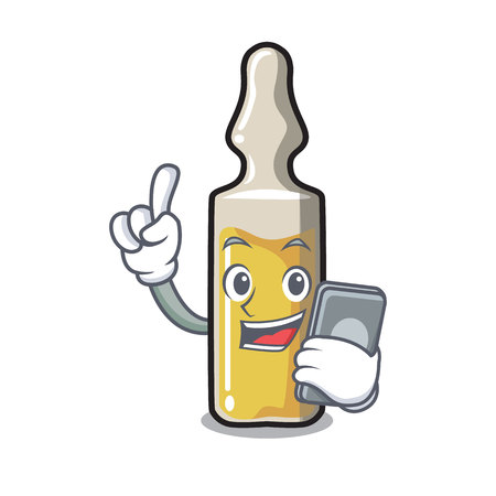 With phone ampoule character in cartoon style vector illustration