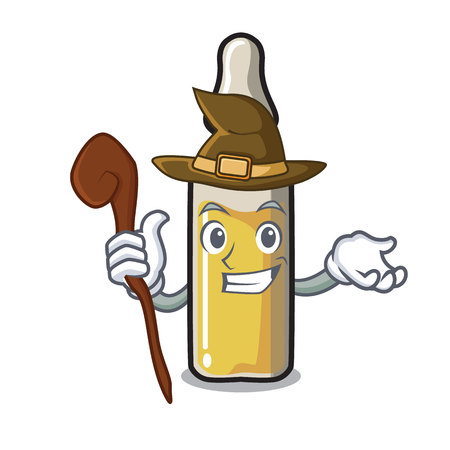 Witch ampoule mascot cartoon style