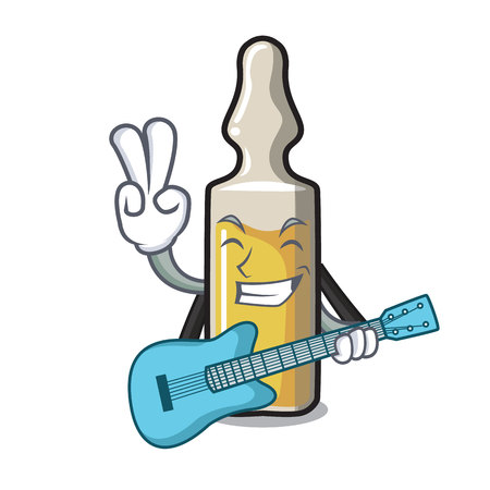With guitar ampoule mascot cartoon style