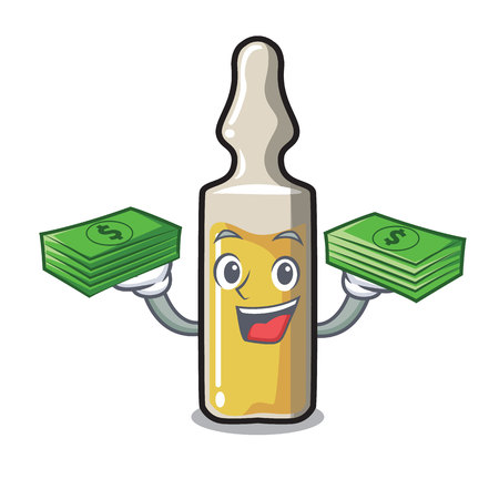 With money bag ampoule mascot cartoon style