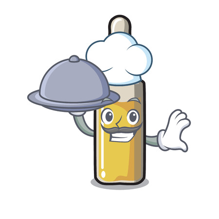 Chef with food ampoule mascot cartoon style