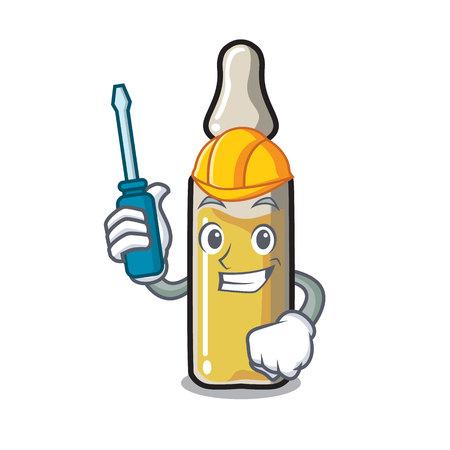 Automotive ampoule mascot cartoon style