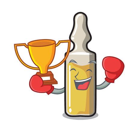 Boxing winner ampoule mascot cartoon style